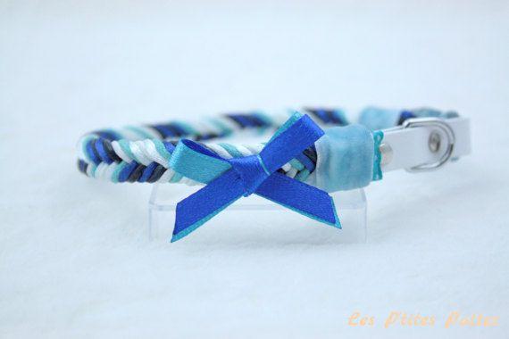 Collier pour chien tressé bleu et blanc