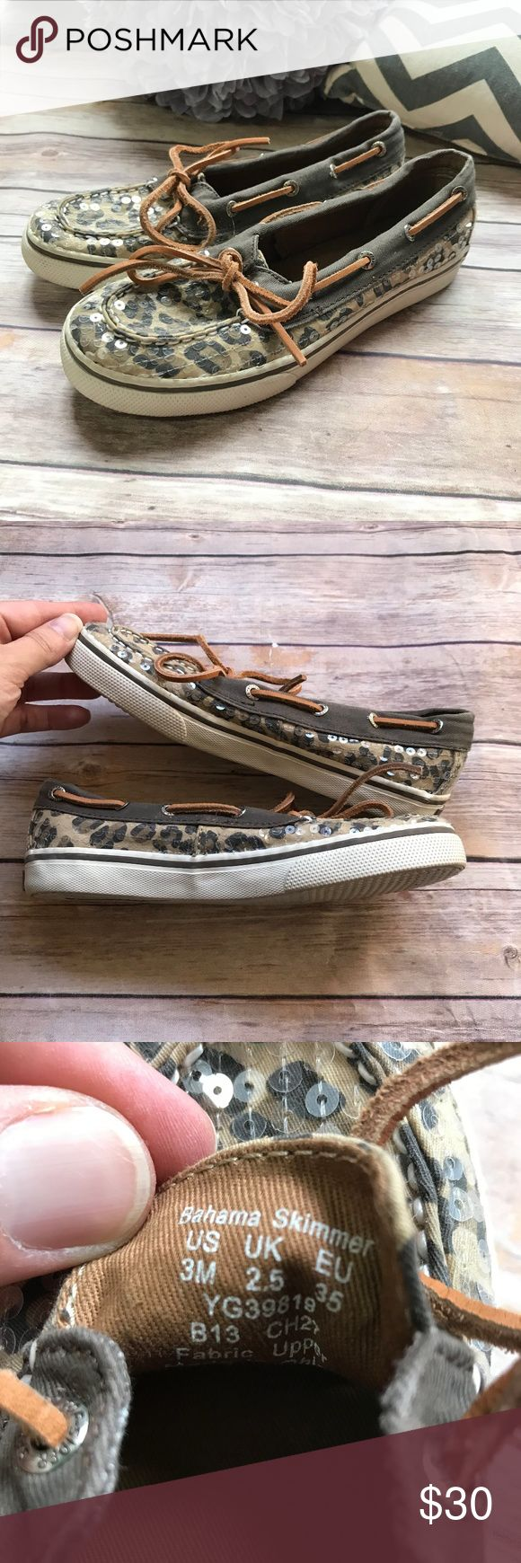 """Sperry Bahama Skimmer Leopard Cheetah Shoes 3M Sperry Bahama Skimmer Leopard Cheetah Shoes 3M  Sequined material. Leather laces. Overall very good condition. Some bent sequins. See pics - light wear. Right at 9"""" heel to toe as measured on the outsole. Sperry Shoes"""