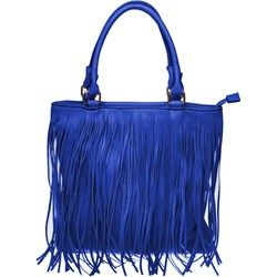 Niebieska torba z frędzlami - niebieski