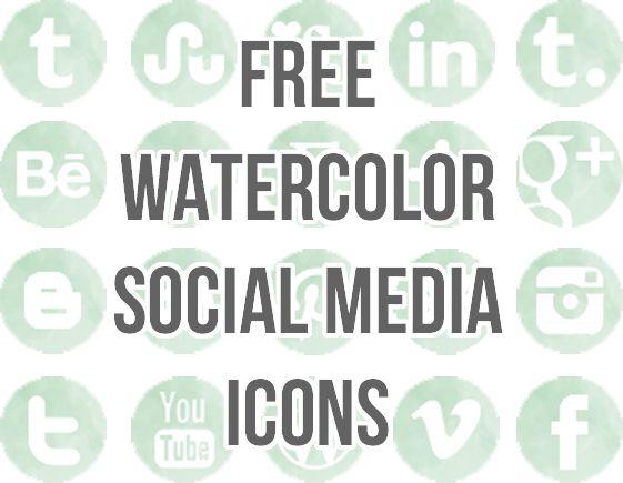 Free Watercolor Social Media Icons . Blog Better by Lindsay at Shrimp Salad Circus