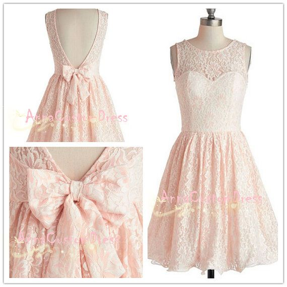 Pink Short Lace Bridesmaid Dresses