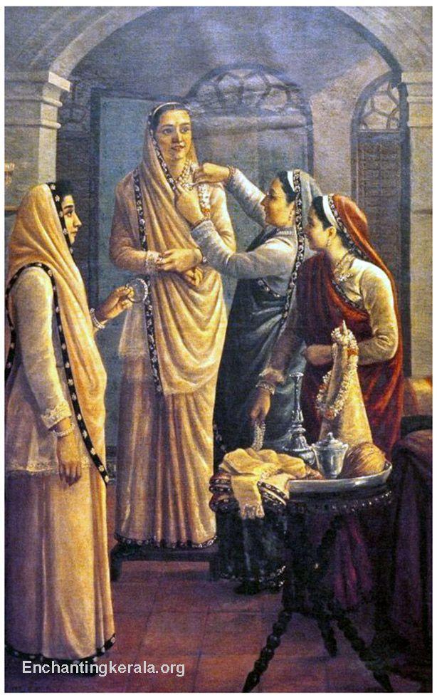 Parsi Gara Saris as seen in Raja Ravi Verma Painting
