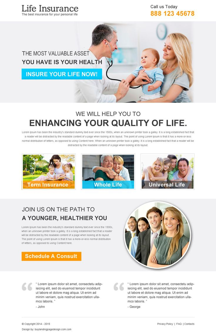 clean life insurance responsive landing page design template