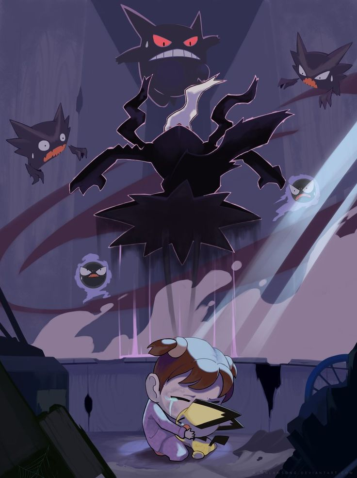 The moon once saved me by nganlamsong.deviantart.com on @DeviantArt (Gastly, Haunter, Gengar, Pichu and Darkrai)