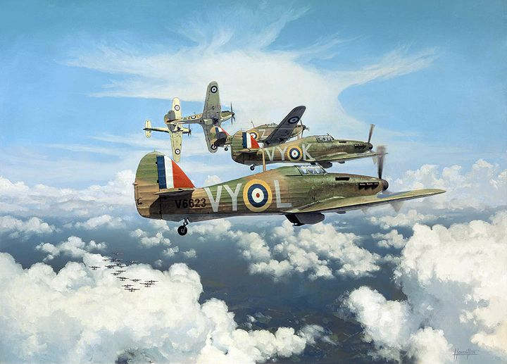 """""""Tally Ho!"""" by Alex Hamilton -  Hawker Hurricanes Mk 1 of 85 Squadron, led by Squadron Leader P.W.Townsend, attacking Dornier 17's during the Battle of Britain"""