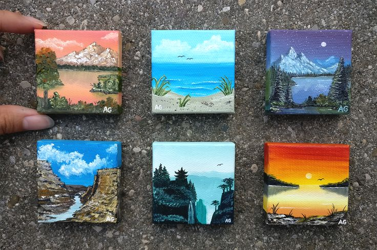 "Mini oil paintings (2"" x 2"")"