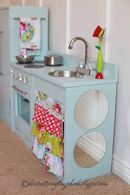 really cute DIT wood Kit + good ideas for supplies ... sliver bowl or doggie bowl for sink  . .. ask for old faucets and oven knobs on free cycle (other kitchen fixtures)     old phone ( for kitchen ( did i throw that one out)