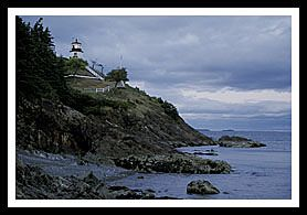 Owl's Head Lighthouse in Rockland, ME.  Grounds open to public and visitors can climb the stairway to the lighthouse.