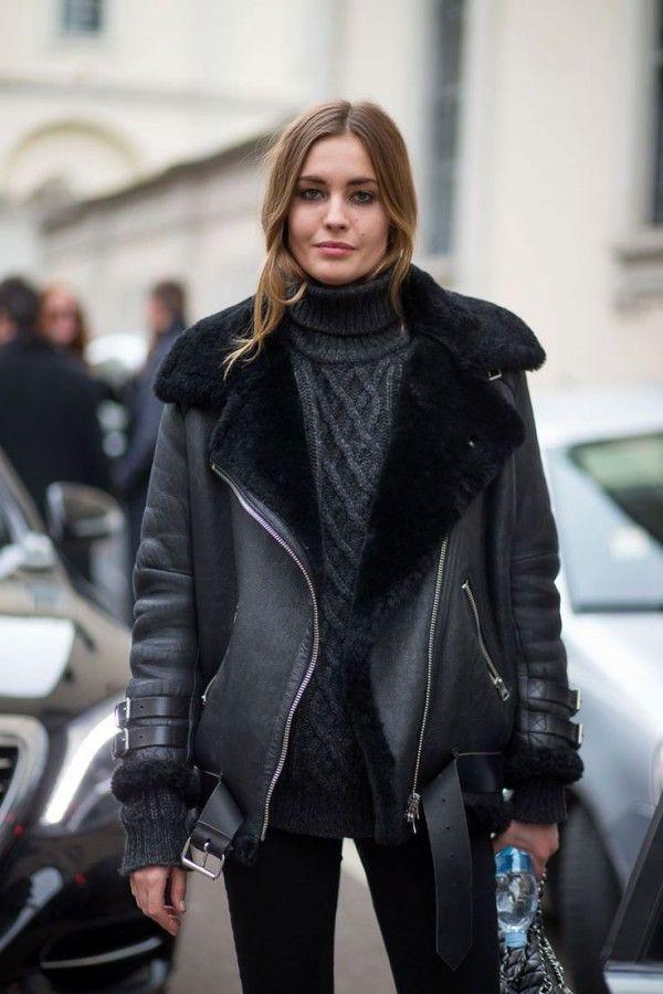 Тренд: черная куртка-дубленка 3