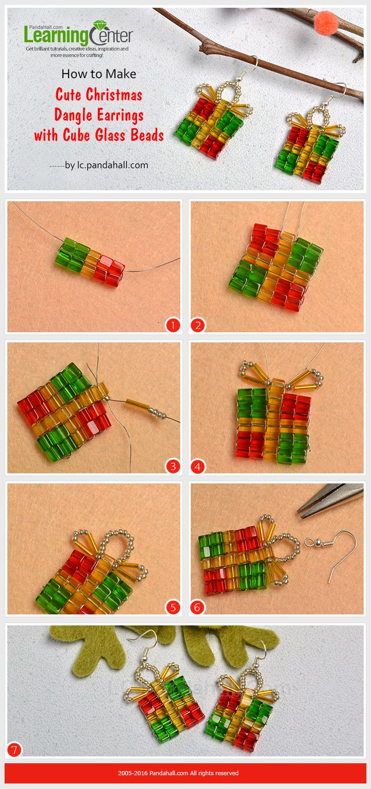 How to Make Cute Christmas Dangle Earrings with Cube Glass Beads