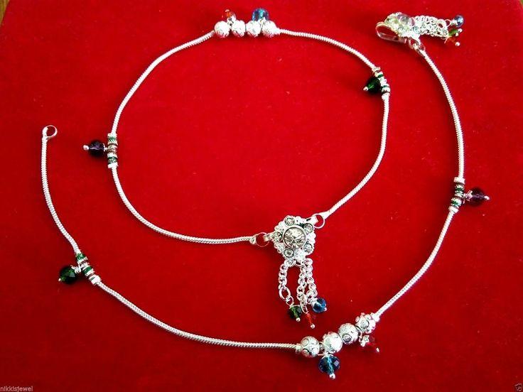 Silver Brass ANKLET Women's Foot JEWELRY Bollywood Kuchi Gypsy Hippie peacock #panassh