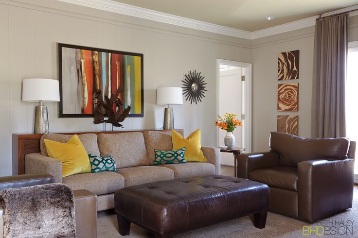 Transitional Earth Toned Living Room