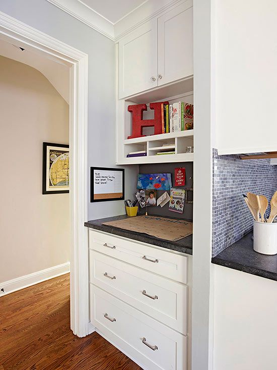 """Define a space in your home as the """"catch-all"""" corner. It helps cut down on your family's clutter: http://www.bhg.com/kitchen/small/small-white-kitchens/?socsrc=bhgpin012514hallwayhideaway&page=12"""