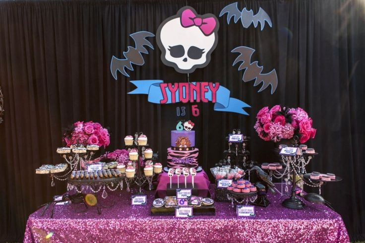 Monster High Birthday Party. Dessert Table. Signage and paper tags by House of…