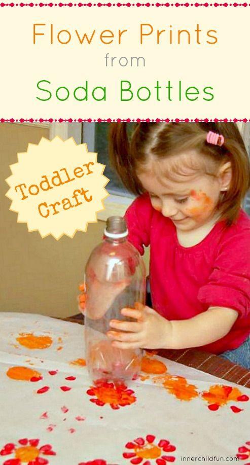 Flower Prints from Soda Bottles -- easy toddler craft