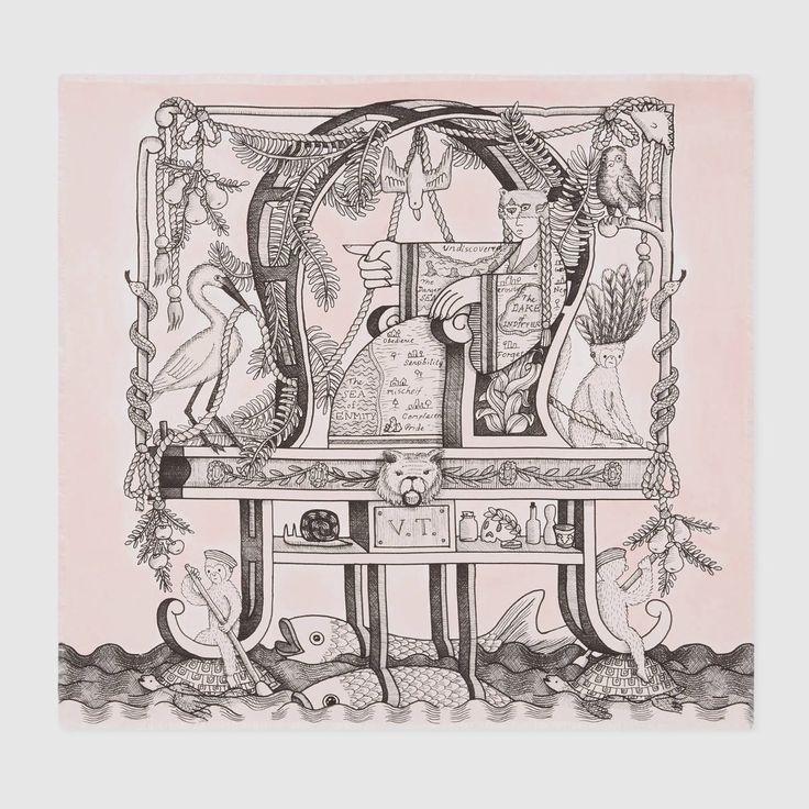 GUCCI The Chariot Tarot print silk scarf - light pink silk. #gucci #