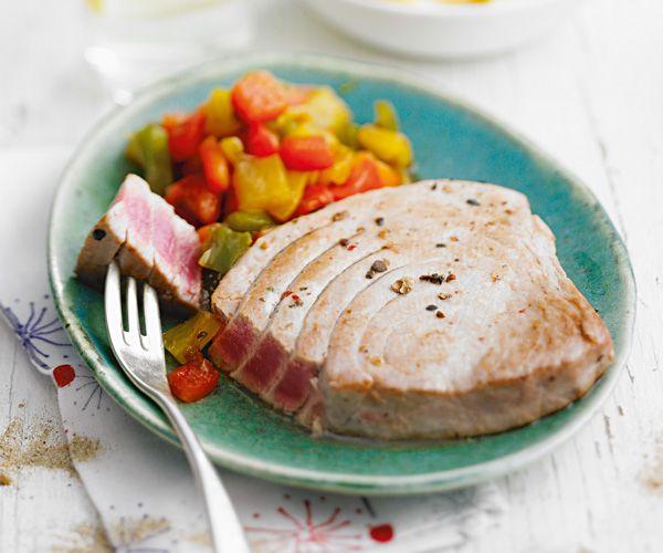 Pavé de #thon grillé aux #légumes