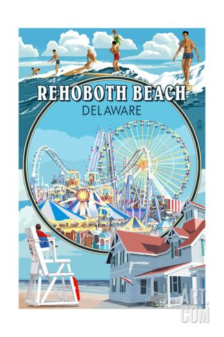 Rehoboth Beach, Delaware - Montage Print