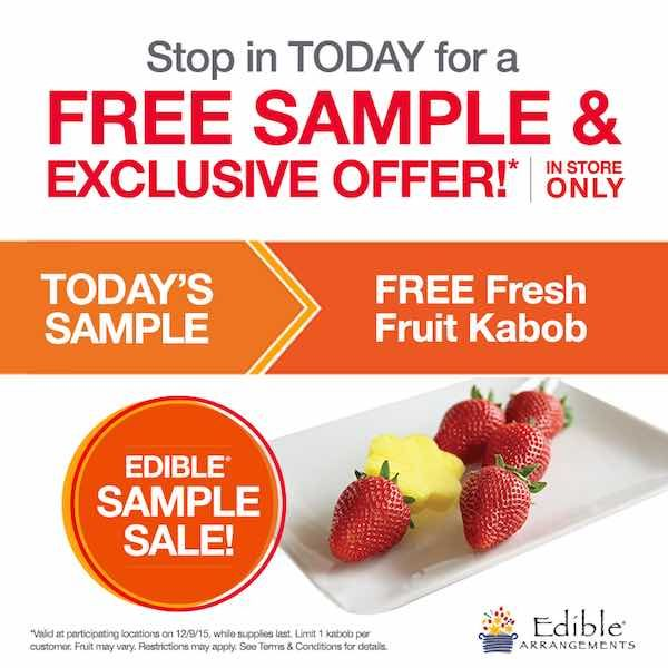 Give that special someone in your life a little something extra today! Get a FREE Fresh Fruit Kabob!Just head over the the nearest Edible Arrangements location and mention this offer! It's that easy!