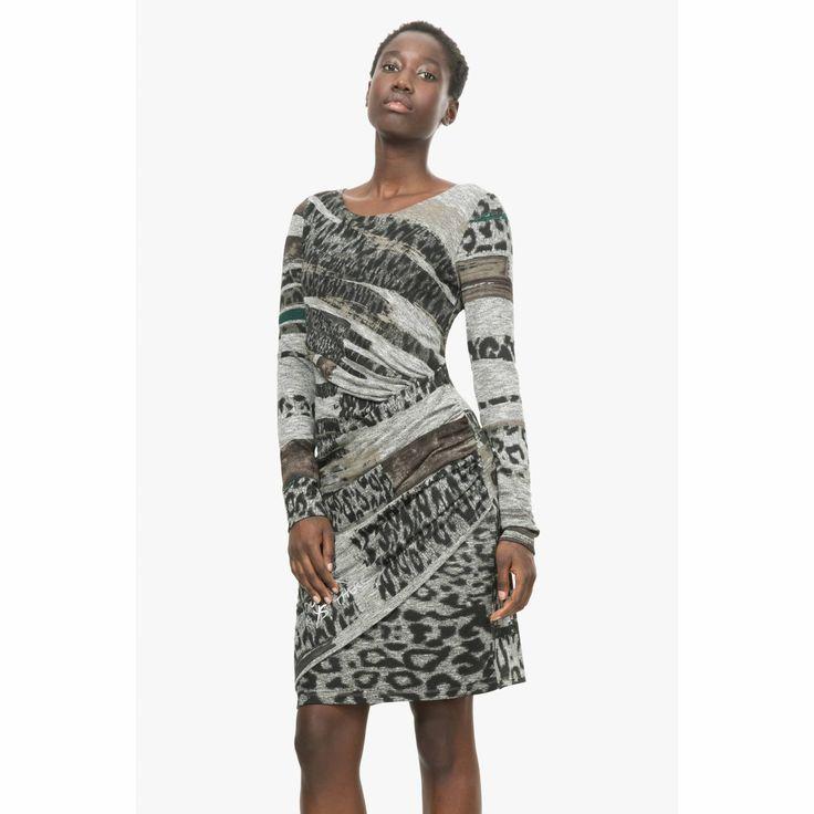 Gedrapeerde jurk met dierenhuidprint