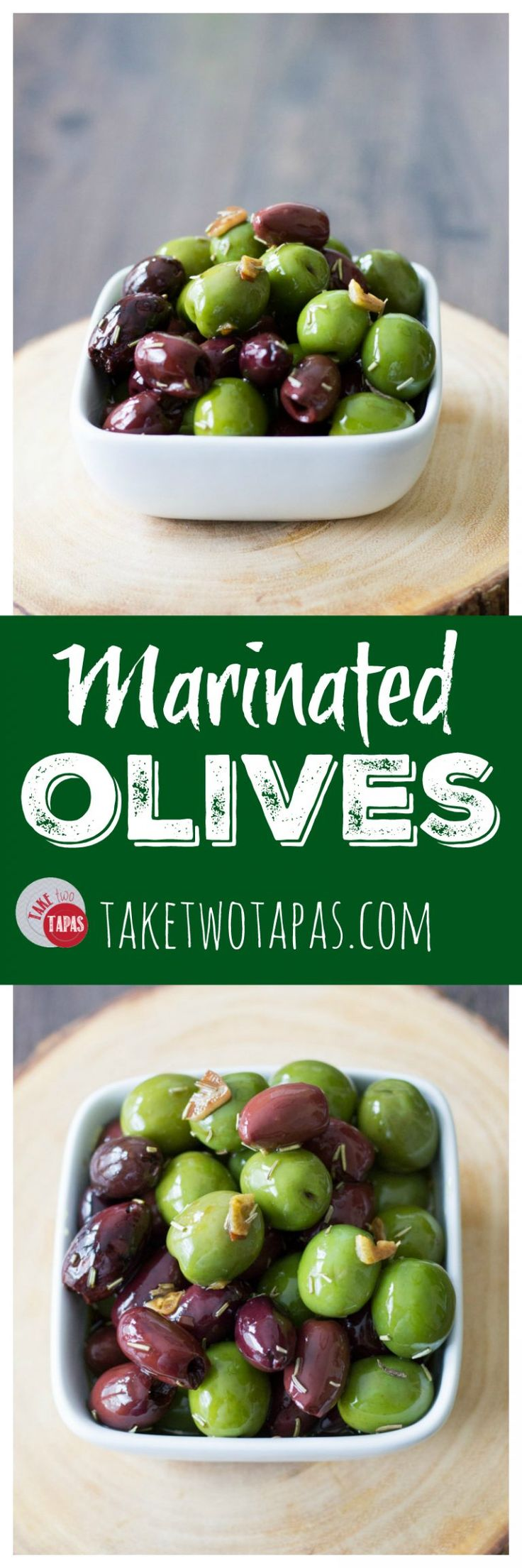 Olives are the perfect snack for day or night. Full of healthy fats and Vitamin E these olives marinated in olive oil and balsamic vinegar are the perfect choice to satisfy that salty snack craving! Marinated Olives Recipe | Take Two Tapas