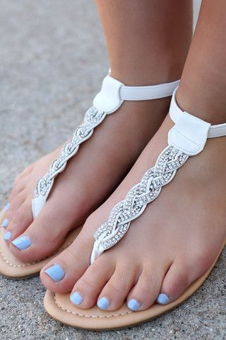 White Braided Gem Sandals TANAYA-224 | UOIOnline.com: Women's Clothing Boutique