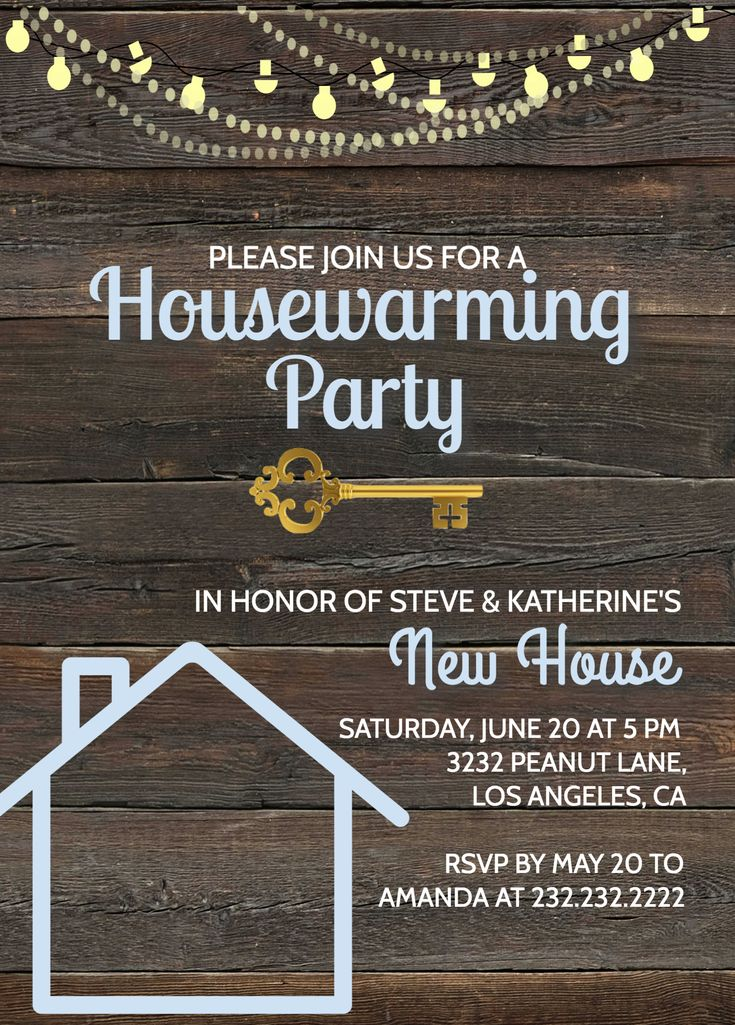 Rustic Housewarming Invitation House Warming Party Invitation Barnwood Amp Key Printable