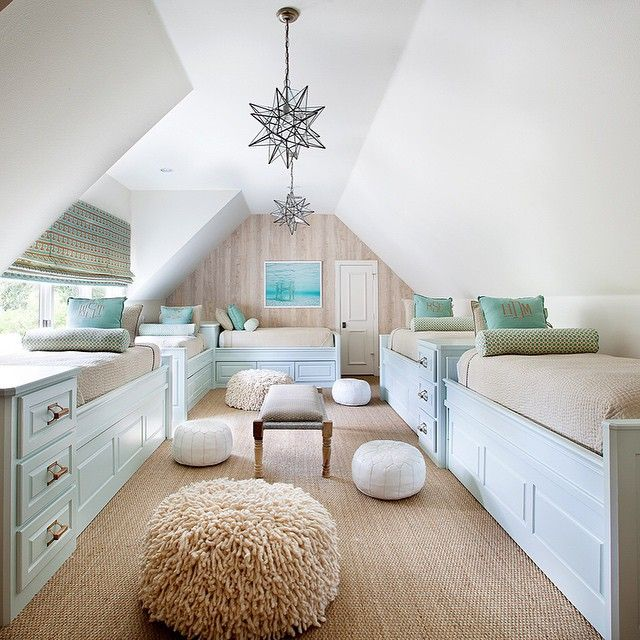 Don't you think the kids would enjoy this bright & cheery bunk room!?! Might not even mind losing the hour of sleep tonight.  Design by Tracy Hardenburg. We love how she maximized every inch of this space! #tracyhardenburgdesigns
