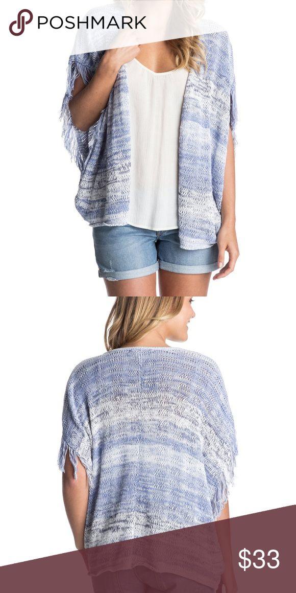 "ROXY CARDIGAN Roxy waterfall fringe cardigan. Size S. measurements: Bust Across: 22"", Waist across: 21"", Hip across: 18"", Length: 24"". DESCRIPTION:  Open front, Fringe Sleeves, Machine wash. Pet and smoke free environment. Roxy Sweaters Cardigans"
