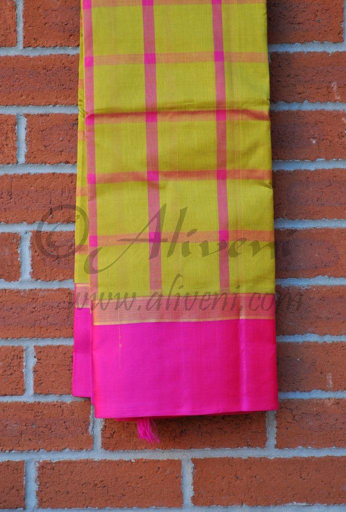 Mustard Yellow Kuppadam Saree with Pink checks and Pink Borders