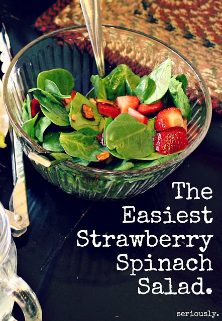 Strawberry Spinach Salad (or substitute the strawberries with canned mandarins)Fresh Complete, Strawberries Salad, Red Wine, Strawberries Spinach Salad, Strawberry Spinach Salads, Summer Salad, Favorite Recipe, Healthy Food, Easiest Strawberries
