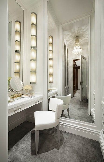Loving the vanity, light and chair! Def better for make up area..