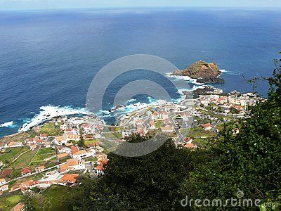 Porto Moniz north of Madeira Island in the Atlantic Ocean in Portugal. Volcanic Cliffs.