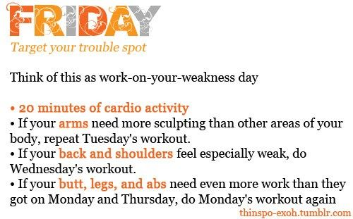 Monday – Friday Workout Plan | thetwentysomethingblog