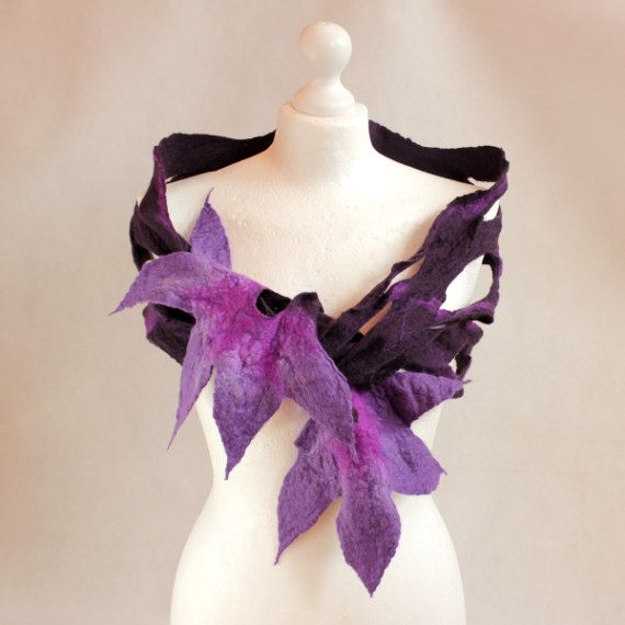 Felted scarf purple violet flower necklace merino wool collar pixie art nymph neck pieces floral wear Hand-felted scarf necklace with soft australian merino wool. Light openwork to the environment in many ways. Flowers in colors of violet, purple with the addition of shimmering silk fibers. Size : 150 cm x 26 cm DO NOT use washing machine or tumble drier. Gently wash by hand in warm water with a little wool wash or soap, rinse at same temperature ensuring all soap is out. Dry naturally…