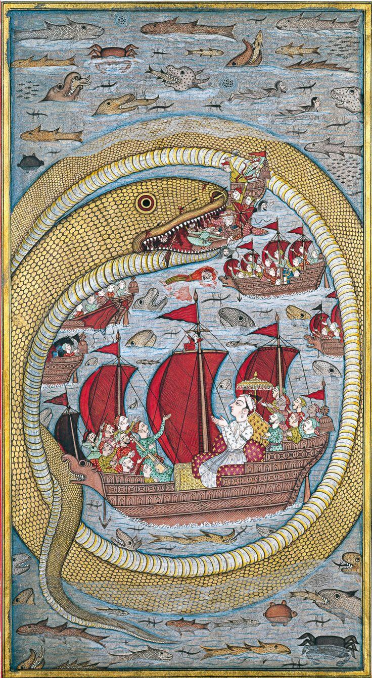 Sea serpent swallows the royal fleet Bijapur, Deccan, India 39 x 23.5 cm 1670 Opaque watercolour, paper