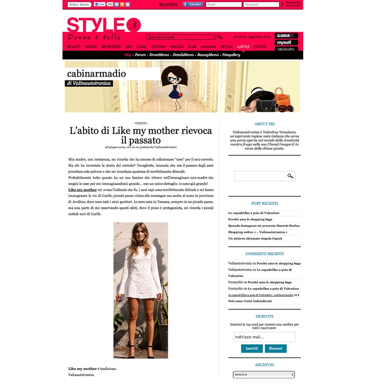 style.it - http://cabinarmadio.style.it/2012/06/28/labito-di-like-my-mother-rievoca-il-passato/