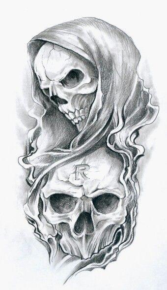Skull reaper tattoo
