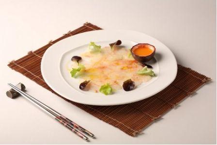 Carpaccio di #scampi con #frutto della passione, le ricetta dello #chef Citterio è su www.menudachef.it