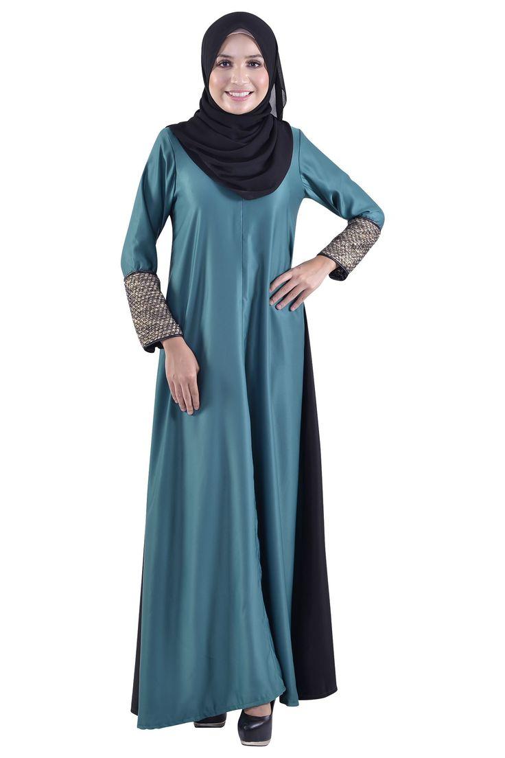 Twinkle and Tweed Dress Muslimah in Emerald Green-Jubah & Abaya