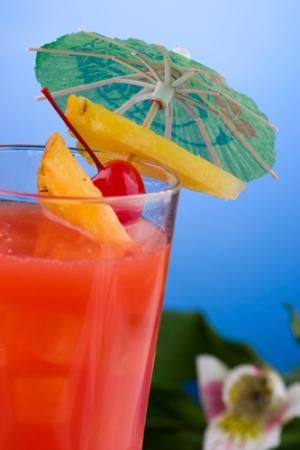 The Hurricane (1 oz. vodka 1 oz. gin 1 oz. light rum 1 oz. amaretto 1 oz. triple sec  1/2-oz. Bacardi 151 rum 1/4-oz. grenadine grapefruit juice pineapple juice)