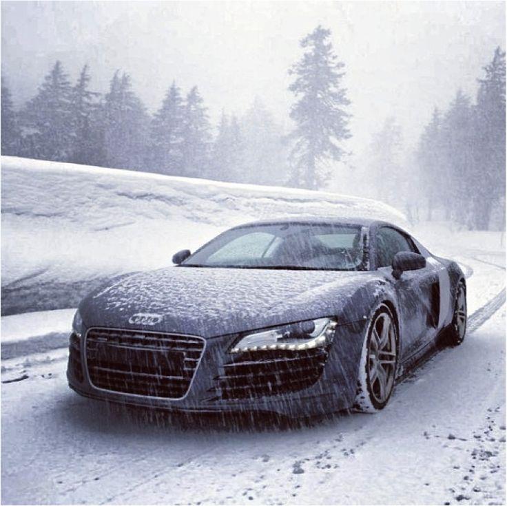 Snow-clad #Audi #R8: Apt weather for peak #performance. #power #snow…