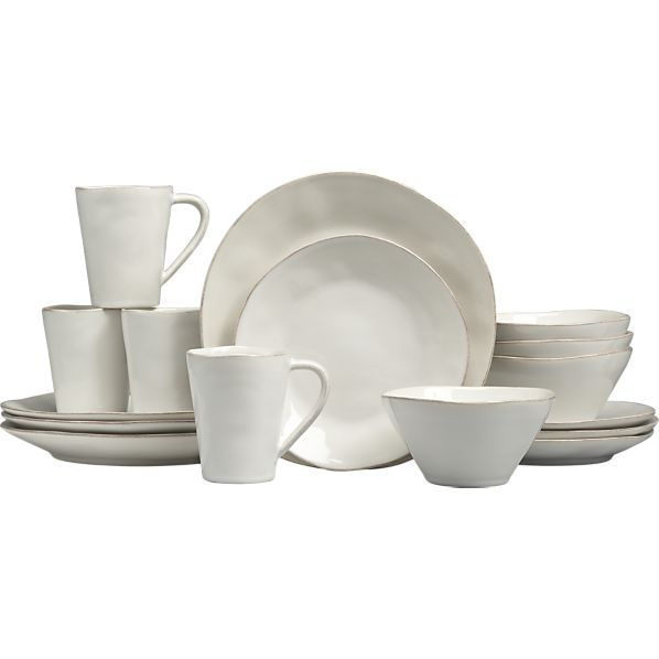~Marin White 16-Piece Dinnerware Set I Crate and Barrel
