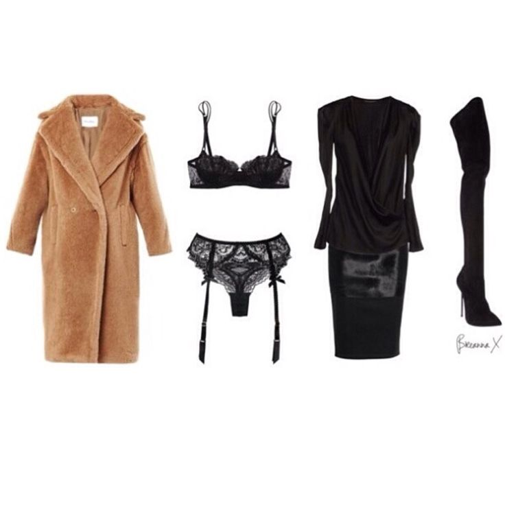 Max Mara Carrara coat. La Perla belle de jour bra. L'AGENT garter and thong. Balmain top. Victoria Beckham skirt. Casadei boots.