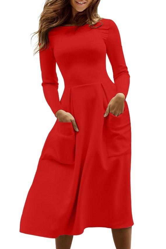 Casual Red Bateau Collar Big Pocket Midi Skater Dress modeshe.com