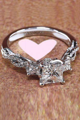 Engagement Ring Designers Princess Cut Diamond Twist White Gold
