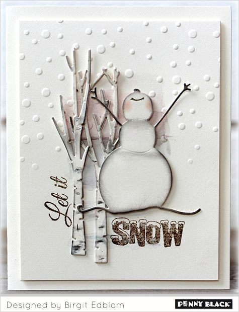Featuring Penny Black stamps and dies and the cardmaking style of Birgit Edblom-- click through for details