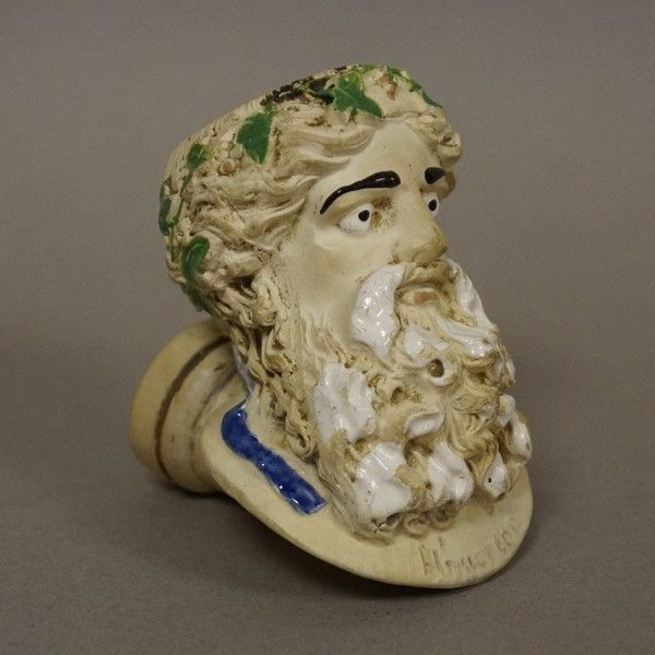 Rare Dumeril Leurs enamelled figural clay pipe