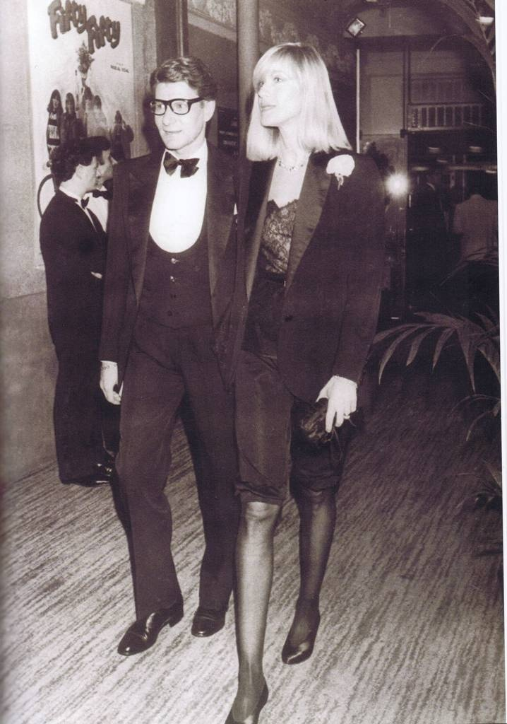 """Yves Saint Laurent & Betty Catroux. Betty is wearing """"Le smoking"""" that made YSL famous."""
