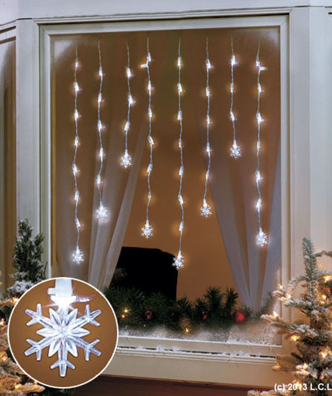 56 led snowflake window icicle lights in stock holiday. Black Bedroom Furniture Sets. Home Design Ideas